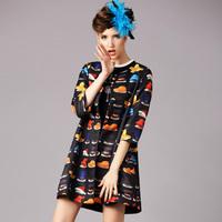 2015 brand spring antumn Elegant hat printing bow half sleeve O neck casual outwear fashion cardigans coat women clothing S-2XL