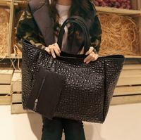 2015 fashion female bag large capacity bag c29-012 black shoulder bag large pu leather bag