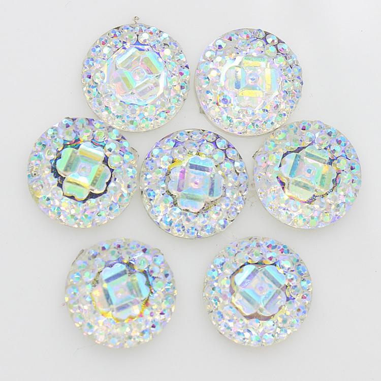Free shipping mixed color 12mm 200pcs crystal AB Flatback Resin Round Stone beads,flower flatback resin rhinestone for DIY deco(China (Mainland))