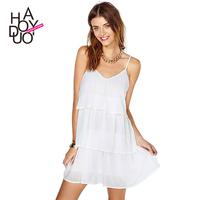 2015 Women's Sexy dress   European style pure white chiffon V-neck Spaghetti Strap chiffon dress XS-XXL