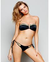 2015 New Fashion Women Strapless String Bandage Bikini Summer Black Neoprene bikini Swimwear Bathing Suit Beach Swimsuit