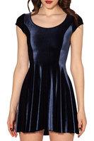 2015 new Europe and America women dress spring and autumn dark blue casual dress velvet vest dresses