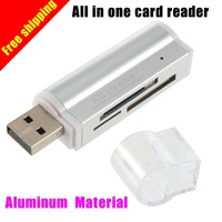Aluminum material USB card reader  All in one Mini bulit-in One Memory Card Reader SD/SDHC,MMC/RS-MMC,TF/MicroSD,MS/MS PRO/MS