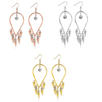 High Quality Gold Plated Crystal Tassels Earrings Jewelry Set of Rhinestones at Bottom Price