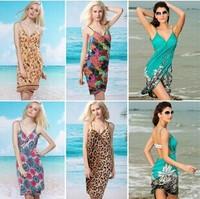 Free Shipping 2014 Fashion Women Summer Dress Sexy Swimwear Open-Back Wrap Dress Front Cover Up One Piece Beach Leopard Dress