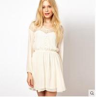 New women's long-sleeved lace chiffon solid hollow eyelashes white dress