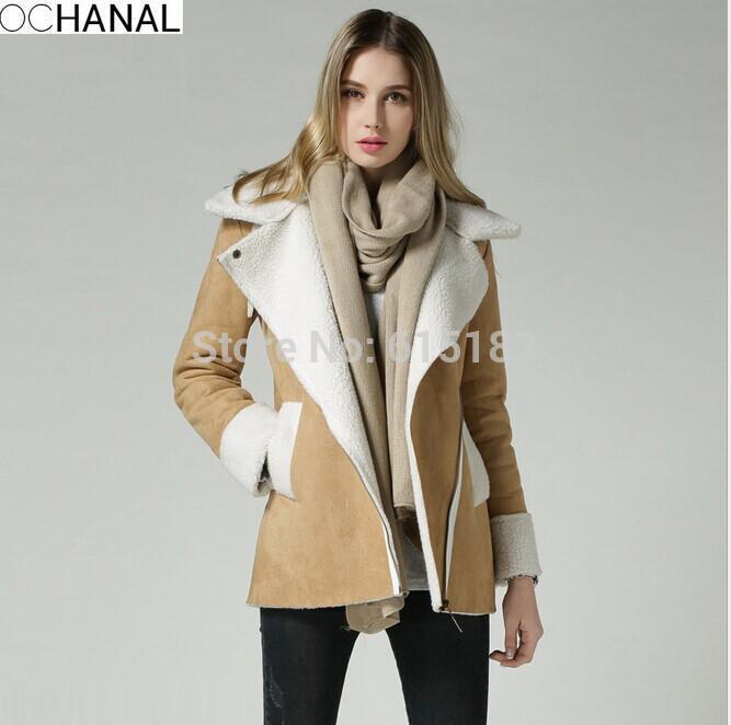 New 2014 Tops Fashion Women Coat Lamb Wool Coats Women Thick Wool Outerwear For Women Coat Wool Coat Blended Jacket D2104(China (Mainland))