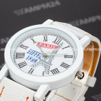 Fashion Ladies Women White Dial Leather Strap Band Masculino Relogio Analog Round Case Clock Wrist Men's Quartz Watch / PHN006