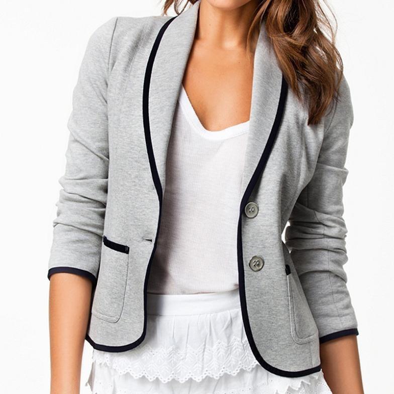 Fashion Casual Blazer Women Knitted Fabric Contrast Piping Slim Fit Suit Jacket Female Blazer Feminino Single Breasted Blazers(China (Mainland))