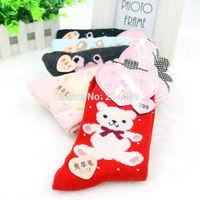 Free Shippiing 2014 NEW fashion cute cartoon socks for women calcetines meias printed bear socks winter wool warm fuzzy socks
