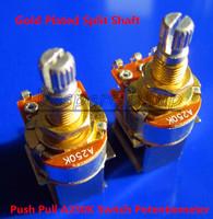 Free Shipping 2PCS Gold Plated Split Shaft Push Pull Audio Taper A250K Tone Switch Pot Potentiometer Coarse Knurling Shaft