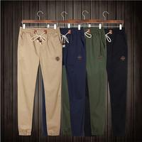 Plus Size Drawstring Men Pants Fit Cotton Jogger Pants Mid Rise Leisure Men's Trousers Men Pants M-4XL AY852437