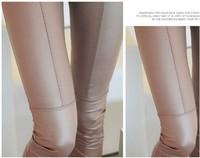 5 pieces Khaki Black middle line PU Leather Skinny Leggings Stretch velvet Material Patchwork Casual pencil Pants trouser