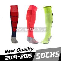 Free Shipping 2015 MESSI NEYMAR JR SUAREZ Soccer Socks Best Thai Quality 14 15 Jersey Socks Home Away Football Socks