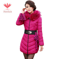 2014 Fashion Women Winter Fur Collar Down Jackets Coat Slim Thicken Zipper With Belt Parkas Casual Womens Parka Jackets C13161W