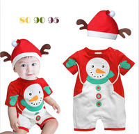 Baby rompers bebe infant clothing set baby girls boys romper snowman christmas styling short sleeve romper + hat suit