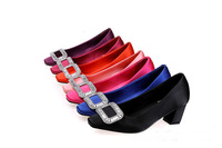 2015 NEW Women Shoes Leather Round Toe Rhinestone Pumpe!!Free shipping