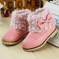 Children's winter new Korean girls bow Martin boots in children of low tube boots warm cotton velvet boots