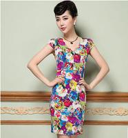 2015 spring/summer new women dress M-3XL plus size fashion lady's flower print dress slim sexy V-neck short sleeve dress G101Y