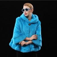 100% realfur coat Luxurious Mink Fur Coat Medium-long Large Fur bright Natural mink clothes fur women's Fashion lapel coat