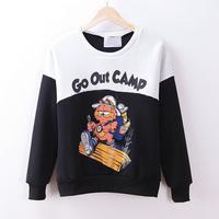 Winter New High Quality Fleece Inside Warm Sweatshirt Fashion Women Cartoon Printed Patchwork Color Cotton Hoodie Free Shipping