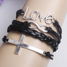 2014 Multilayer Braided Bracelet Handmade Cross Love For Men Women Charm Bracelets Bangles Pulseras De Couro Pulseiras Femininas