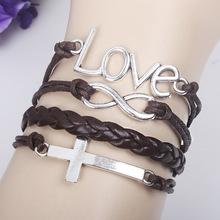 2014 Multilayer Braided Bracelet Handmade Cross Love For Men Women Charm Bracelets Bangles Pulseras De Couro