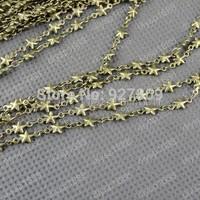 2 meter  Ancient bronze pentagram   Love Cross  chain handmade copper jewelry wholesale