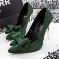 New 2015 Fashion Women's Bowtie High Heels Shoes Women Shoes Women Pumps Wholesale Price Green black red