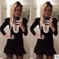 New Women's sexy party dress explosions nail black long sleeve Pearl Halter mini prom dresses Club dresses D8813