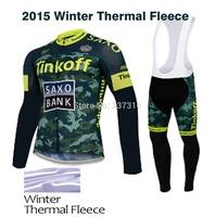 Hot! New 2015 Tinkoff Saxo Bank Winter Thermal Fleece Cycling Jersey Long Sleeves (bib) Pants Kits Ropa Ciclismo MTB Clothing