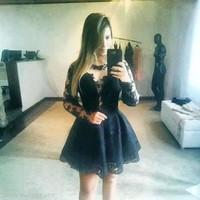 Cute black lace dress O-neck patchwork vestido de renda preto vestido com renda vestidos femininos
