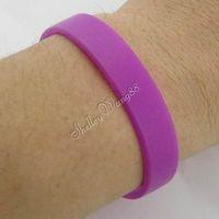 1x Solid Purple Silicone Rubber Bangle Elastic Belt Soft Sport Cuff Bracelet