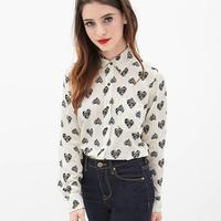 Women's Long Sleeve Heart Print Blouse & Shirts Tops  Chiffon Shirts XXL Size