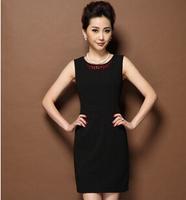 2015 winter/spring new women dress S-3XL solid plus size sleeveless fashion women vest dress casual women black dress G105Y