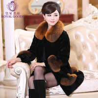 best-selling 2014 high quality fur coat full leather rabbit cashmere overcoat fox fur collar Free shipping