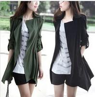 2015 New Korean Female Spring Autumn Wind Outerwear Open Stitch Slim Lapel Mid Long Windbreak Clothes Women Desigual Trench Coat