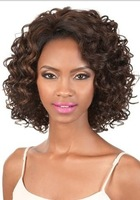 fashion woman hair wigs medium curly synthetic wig deep brown free shipping
