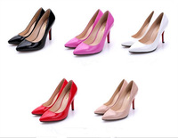 Plus Size 35-41!!! 2014 Fashion Sexy Pointed Toe Sweet Colorful Thin High Heels Hot Sale Women Shoes Women's Pumps Nude