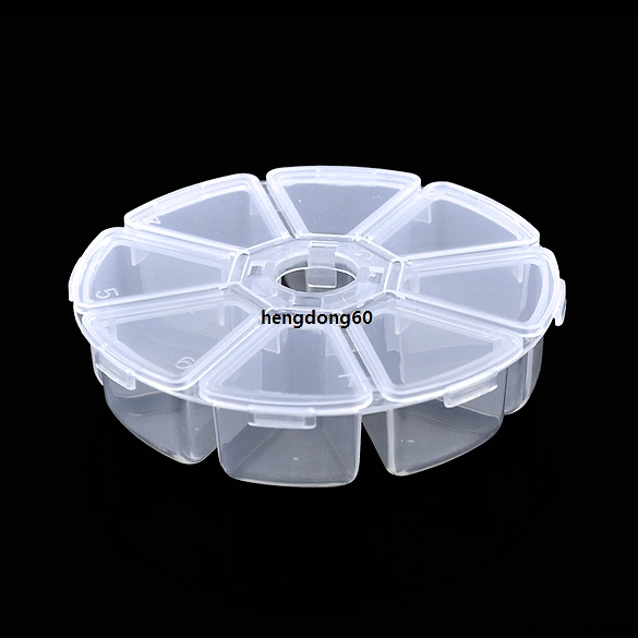 Round Bead Nail Art Tips Display Storage Box Container Case 8 Compartments FV88(China (Mainland))