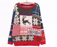 Color block deer geometric pattern 2015 spring cute sweater mori girl