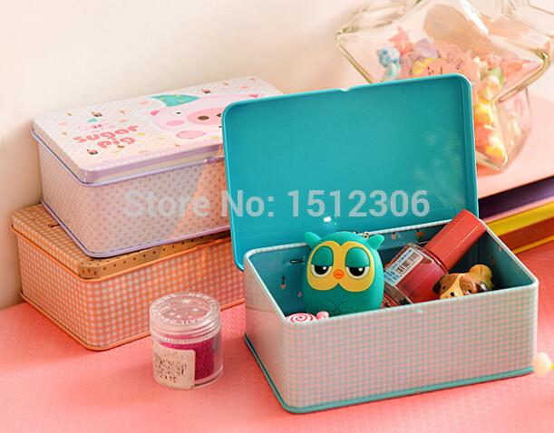 Lovely Cartoon Animals Small Desktop Storage Box Tin Box Saving Pot Sundries Box 3pcs/lot Free Shipping(China (Mainland))