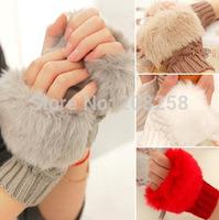 Brand New Winter Warm Imitation Rabbit Faux Fur Women Gloves Knitted Patchwork Waist half finger fingerless Gloves free shipping