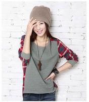 Hot Sale Women Clothing New 2015 Fashion Long Sleeve T Shirt Plaid Bottoming Shirt Women Female Sweater Hoodie Size Loose Blouse