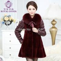 2014 genuine leather clothing fox fur rex rabbit velvet patchwork sheepskin down coat  women's