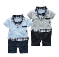 New Summer Baby Boy Set Gentleman Romper Short Sleeve Clothes Garment Of Newborn Kit Camiseta E Short 1ano Roupa Bebe