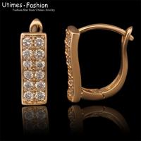 Yellow Gold Plated Hoop Earrings For Women AAA+ Zircon Fashion Design 2015