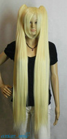 FSX590012W>>> Hatsune Miku Light Blonde 100cm Extra Long Straight Cosplay Split Type Wig