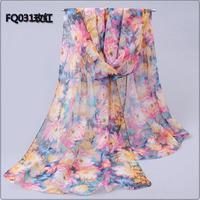 2014 New Desigual Foulard Women Scarfs Spring Autumn Winter Floral Long Thin Silk Scarf Chiffon Georgette Shawls and Scarves