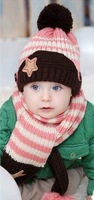 The scarf hat suit 5 Colour Lovely Winter Hats  Beanie Wool Hats Winter Cap  For Children To Keep Warm A115
